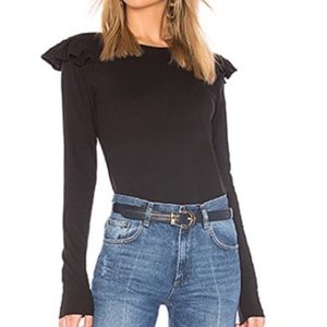 FRAME Denim Black Ruffle Shoulder Long Sleeve Top